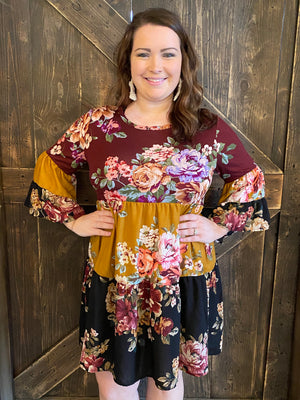 Floral Tiered Mixed Print Dress
