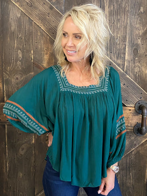 Boho Embroidered Bubble Sleeve Top