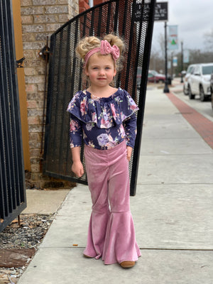 Velvet Bell Bottom Pants in Purple