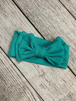 Double Bow Headband in Aqua