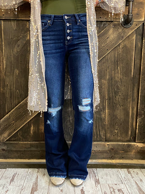 Button Fly Distressed Flare Jean