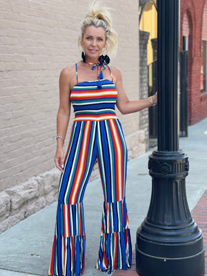 Striped Wide Leg Jumpsuit with Smocked Bodice