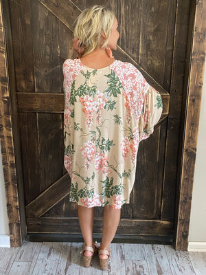Mixed Floral Print Dress with Bell Sleeves