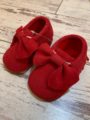 Slip On Moccasin with Bow in Red