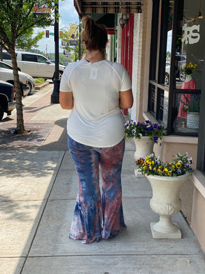 High Waisted Tie Dye Bell Bottom Pants