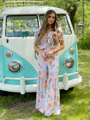 Floral Wide Leg Jumpsuit with Front Tie