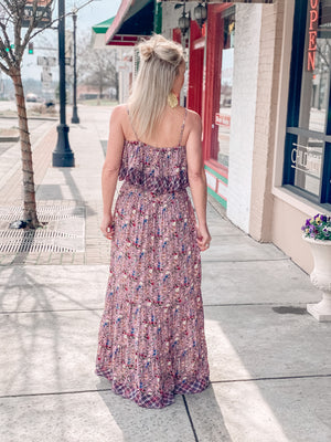 Floral Shoulder Maxi Dress with Waist Tie
