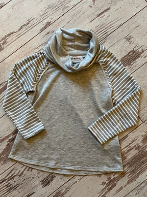 Striped Sleeve Cowl Neck Top