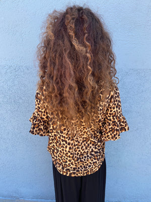 Leopard Print Top with Bell Sleeves