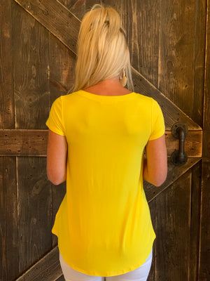 Cap Sleeve Basic Top in Yellow