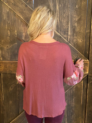Waffle Knit Button Up Top with Front Knot