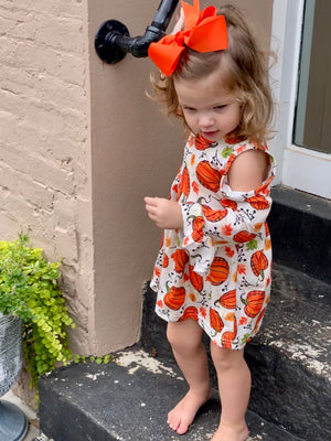 Pumpkin Cold Shoulder Ruffle Sleeve Dress with Bow