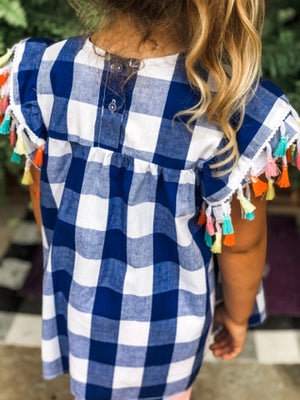 Plaid Gingham Top with Tassel Flutter Sleeves