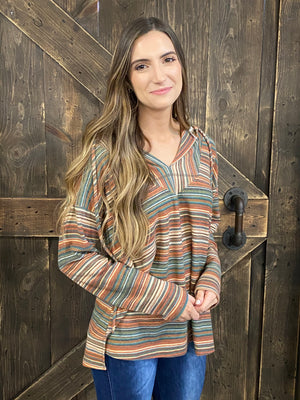 Multicolor Striped Hooded Top