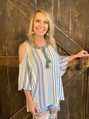 Striped Cold Shoulder Top with Tassel Tie