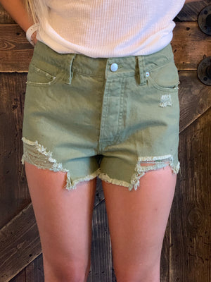 Distressed Denim Shorts in Olive