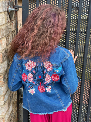 Embroidered Raw Hem Denim Jacket