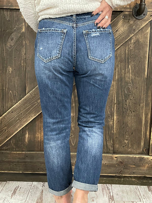 High Rise Cuffed Distressed Girlfriend Jean