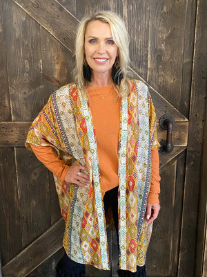 Boho Printed Open Front Cardigan