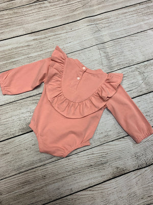 Ruffled Long Sleeve Romper in Pink
