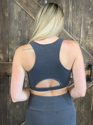Textured Metallic Racerback Bra - Charcoal