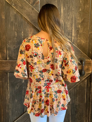 Floral Print Winged Sleeve Top