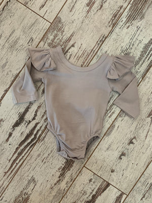 Long Sleeve Ruffle Shoulder Onesie in Grey