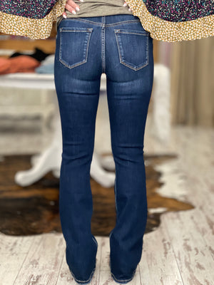 High Rise Double Button Bootcut Jeans
