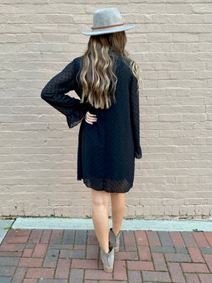 Textured Chiffon Mock Neck Dress