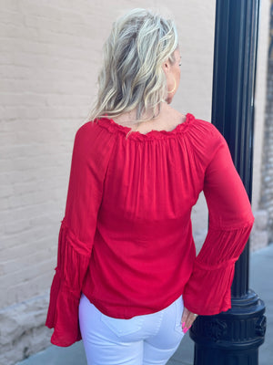 Bell Sleeve Top with Tassel Tie