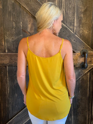 Strappy Neck Tank Top in Mustard