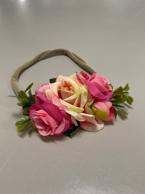 Dark Pink Floral Nylon Headband