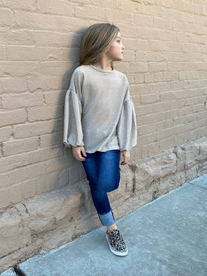 Bubble Sleeve Shimmer Top