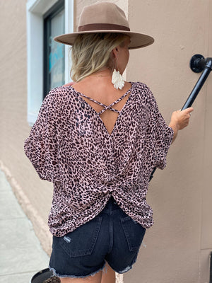 Leopard Print Twist Back Top