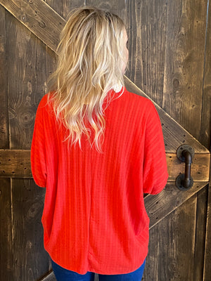 Ribbed Dolman Sleeve Top with Choker Detail