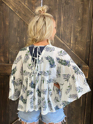 Tropical Print Open Front Kimono with Back Tie