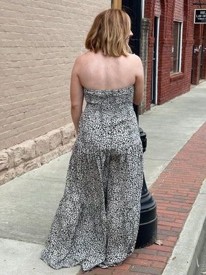 Leopard Tube Top Wide Leg Jumpsuit