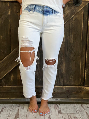 Washed Out, Distressed Slim Boyfriend Jeans