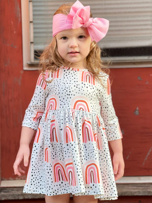 Spotted Rainbow 3/4 Sleeve Dress
