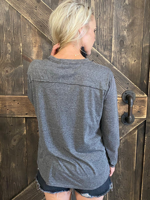 Solid Slouchy Top with Pocket - Charcoal