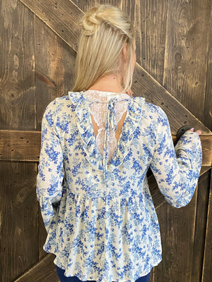 Floral Babydoll Top with Open Back