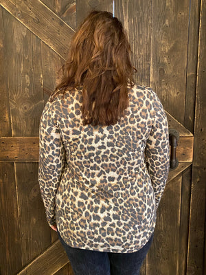Leopard Print Top with Sequin Pocket