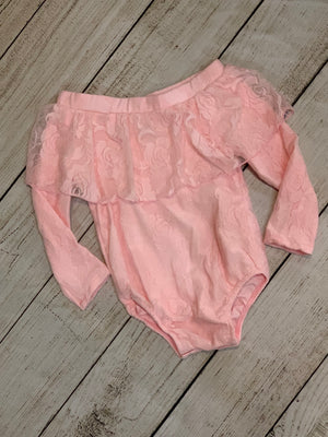 Lace Off Shoulder Onesie in Pink