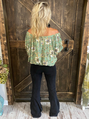 Floral Dolman Sleeve Top with Ruffle Detail