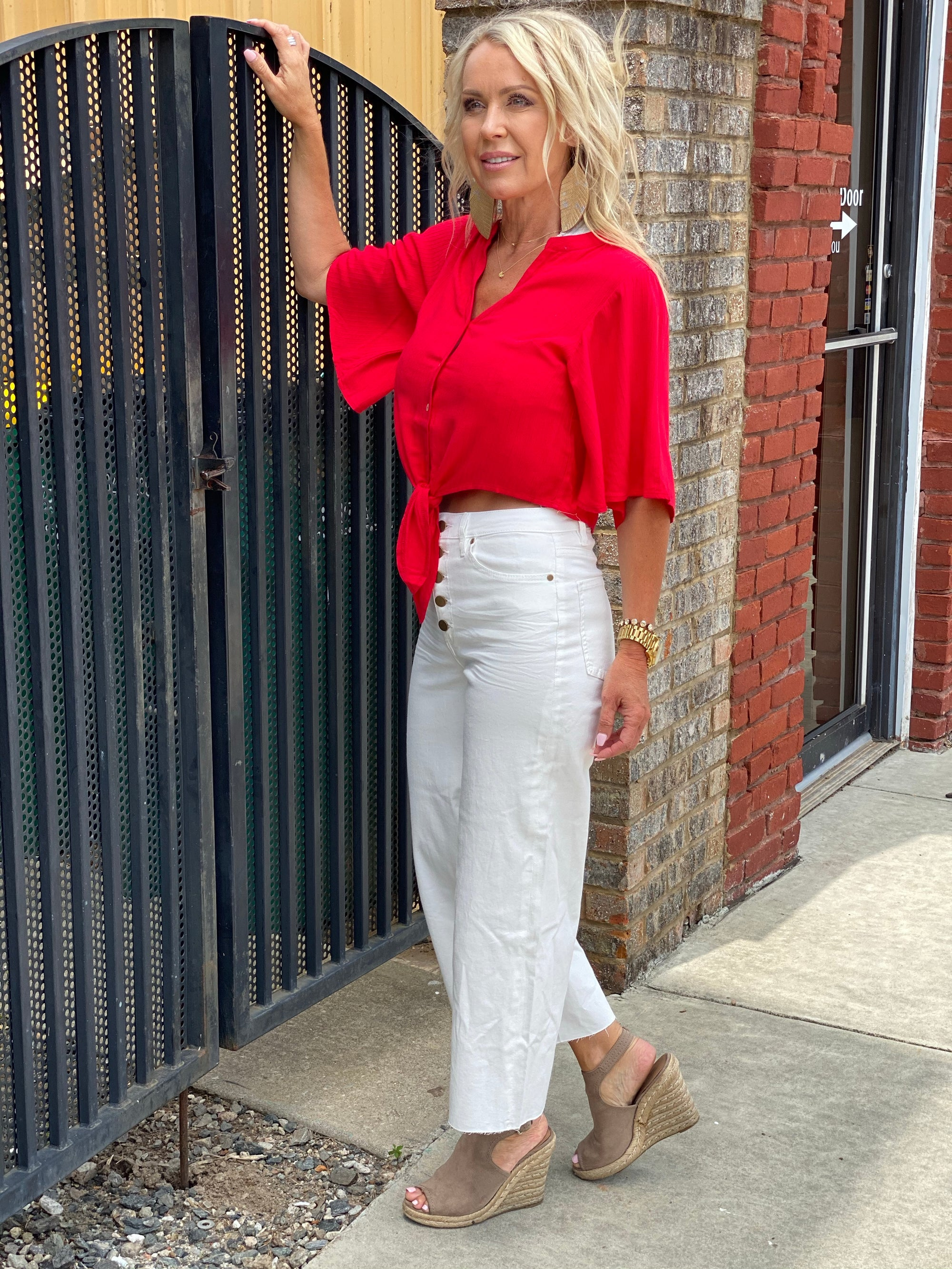 Cropped Wide Leg Button Fly Pants