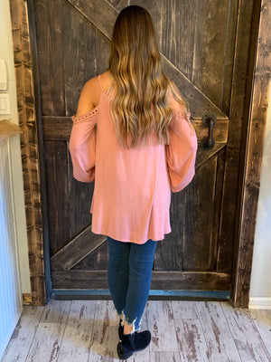 Cold Shoulder Top with Crochet Detail