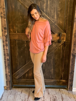 Boat Neck Top with Ruffle Sleeves
