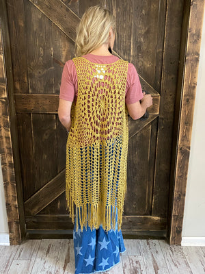 Crochet Duster Cardigan with Tassel Hem in Mustard