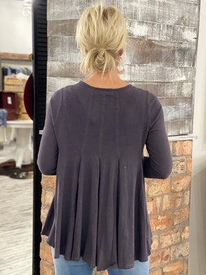 Pleated Loose Fit Top in Grey