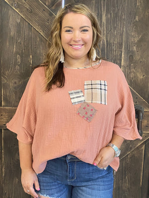 Dolman Sleeve Patchwork Top
